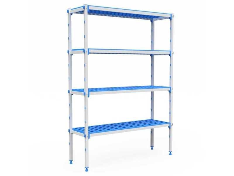 Rayonnage aluminium 4 niveaux compatible bac gn 1/1 - l 715 à 1950 mm - pujadas - 1590 mm