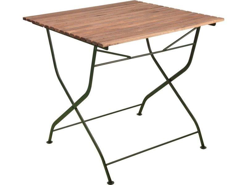 Table pliable en bois et métal vert