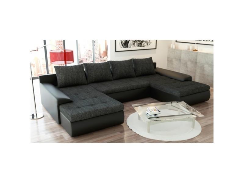Canapé panoramique convertible joyu noir TENDENCIO