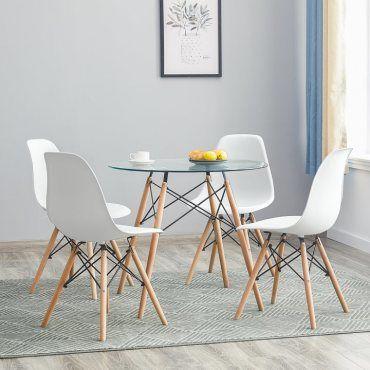 Lot De 4 Chaises Design Scandinave Blanches Vente De Chaise Conforama