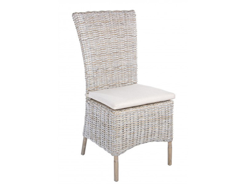 Chaise en rotin avec coussin - dim : l 51 x p 57 x h 102 cm -pegane