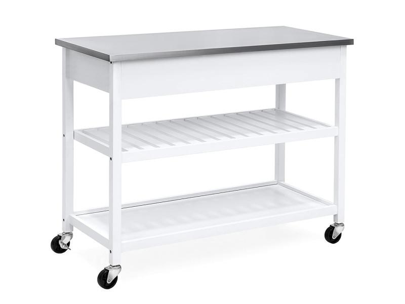 Hombuy® desserte roulante chariot de cuisine de 2 étages avec grand plan de travail en acier inox