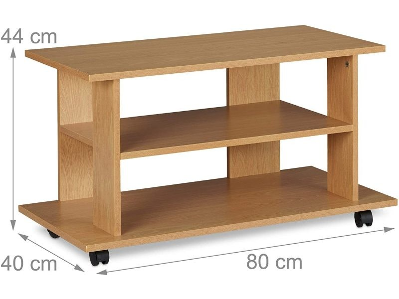 Meuble tv 2 compartiments console table sur roulettes 80 cm effet bois helloshop26 13_0001660