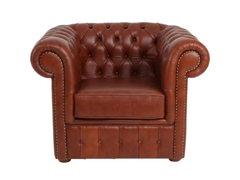 Fauteuil cuir marron clair suspension sangles - chesterfield - l 107 x l 96 x h 81 - neuf