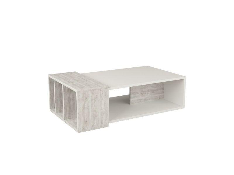 Table basse design bois anita - l. 102 x h. 32 cm - blanc et gris