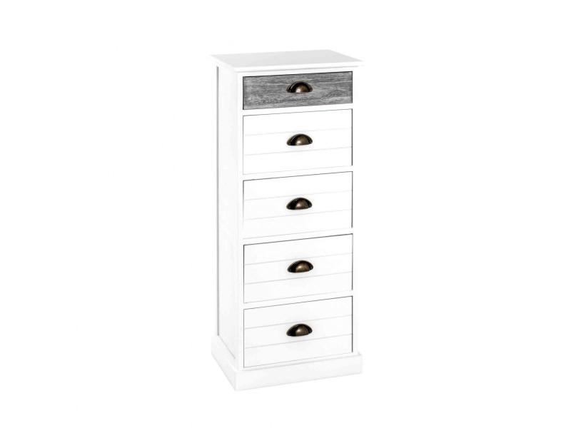 Commode 5 tiroirs en bois massif blanc laqué et gris - co15014