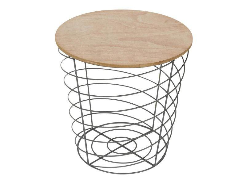 Table filaire bois et métal cyclone gris