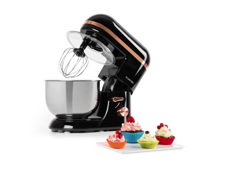 Klarstein bella elegance robot de cuisine multifonction - bol 5l - 6 vitesses - fonction pulse 1300w - inox noir TK2-Bella Elegance B