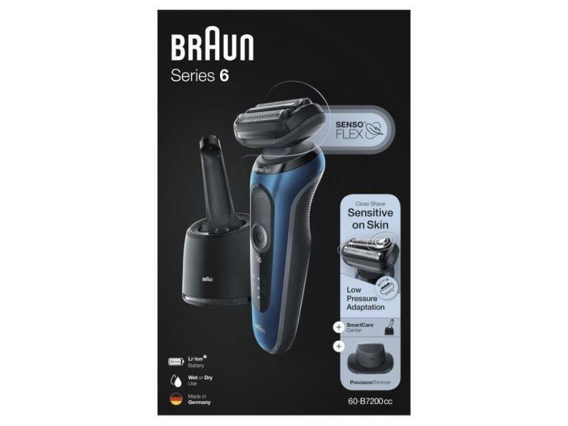 Braun series 6 60-b7200cc tondeuse barbe - autonomie 50min - technologie sensoflex BRA4210201243663