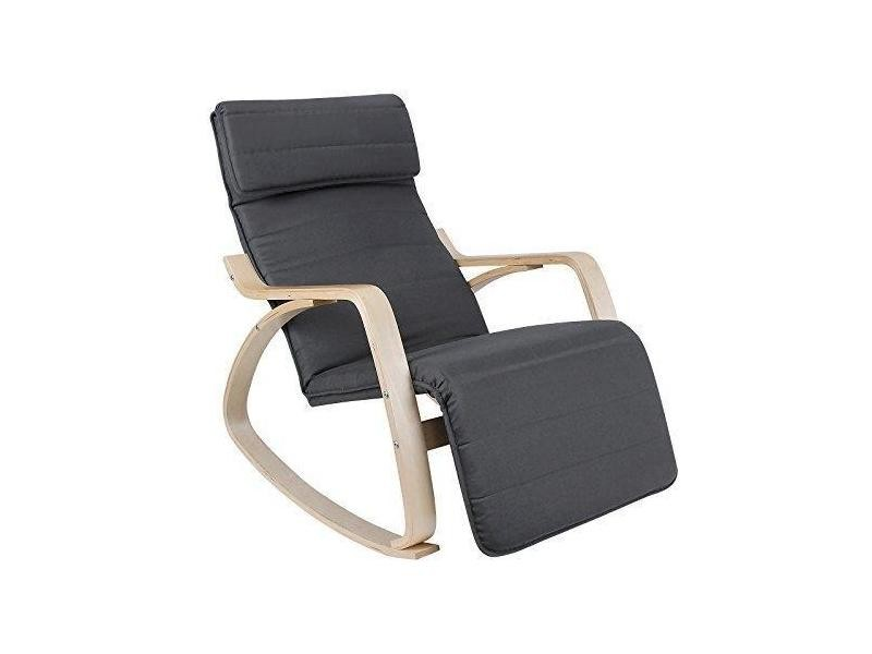 fauteuil bascule rocking chair relaxation lounge avec repose pied blanc helloshop26 1112007. Black Bedroom Furniture Sets. Home Design Ideas