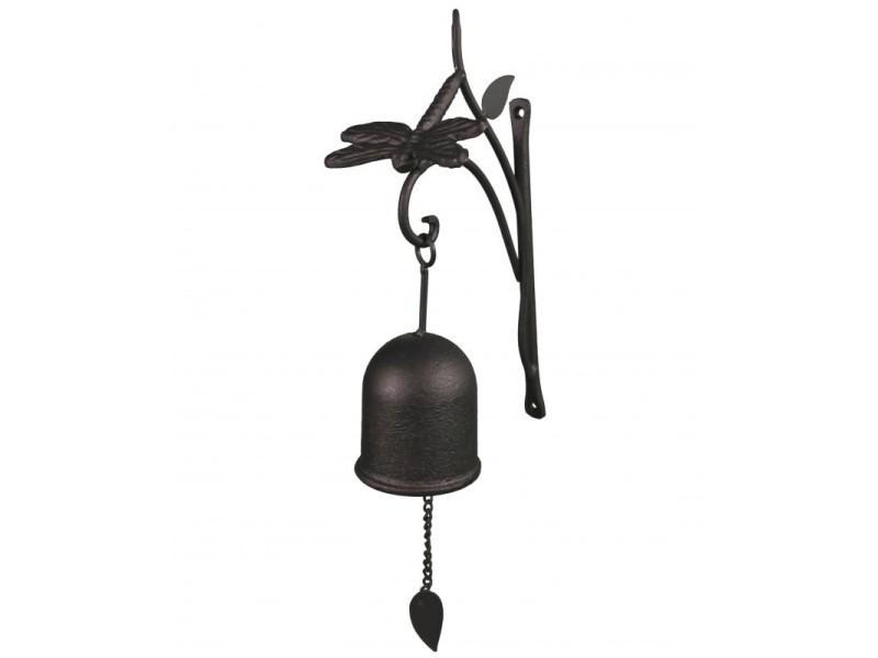 Sonnette carillon ou cloche murale motif libellule en fer & fonte patiné noir 38x7x7cm