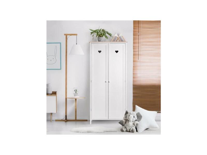Armoire enfant 2 portes - décor chene et laqué blanc -mdf et pin massif - l80 x p 50 x h180 cm - haro HT20C62HARO