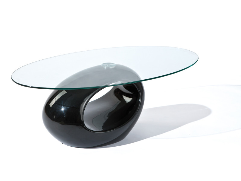 Table basse de salon d´appoint oval design moderne verre securit pied rond noir