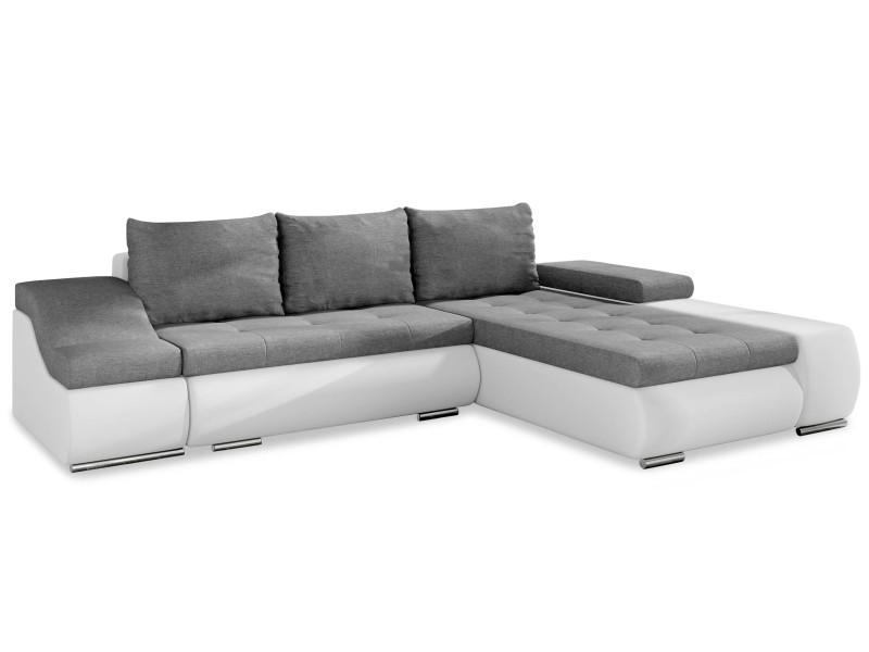 Canapé d'angle convertible ontario simili blanc et tissu gris clair