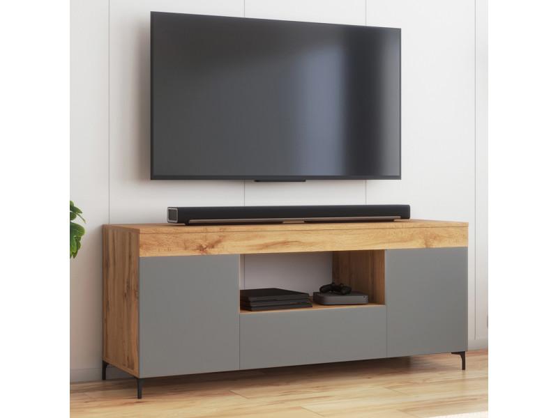 Meuble tv - gusto - 137 cm - lancaster / gris mat - style contemporain
