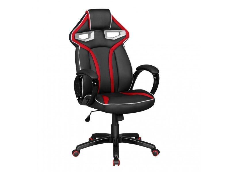Chaise de bureau gamer en pvc coloris noir et rouge vente de