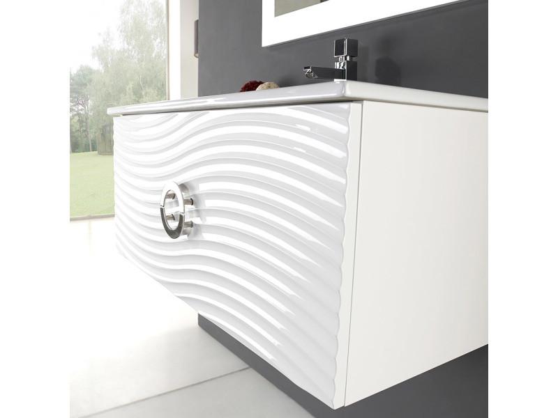 Meuble suspendu 80 cm boreal blanc vasque miroir - Miroir salle de bain conforama ...