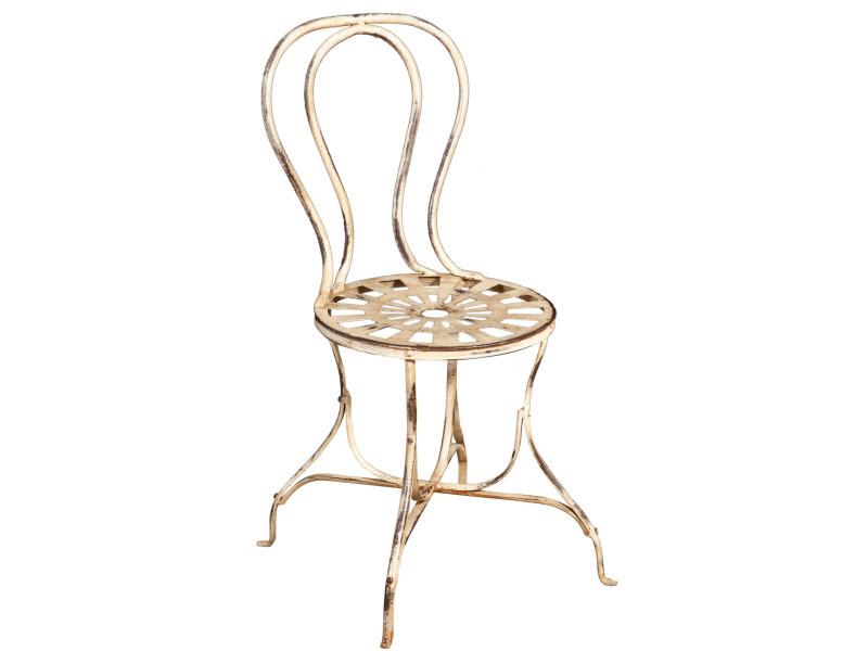 Chaise de salle à manger de jardin d'extérieur en finition blanc antique en fer forgé