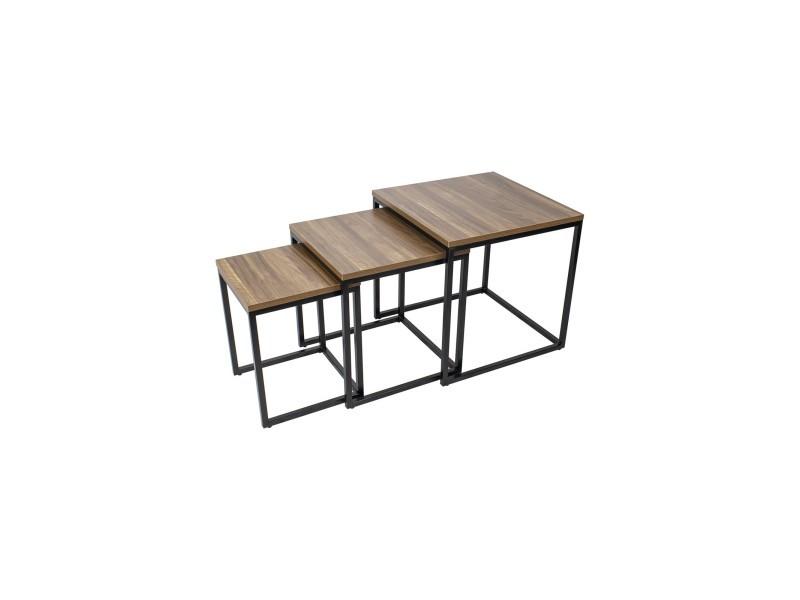 Mingus lot de 3 tables basses carrées bois