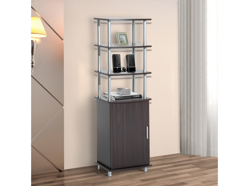 meuble tv hi fi sur pieds design contemporain 4 tag res ouvertes placard chrome mdf coloris. Black Bedroom Furniture Sets. Home Design Ideas