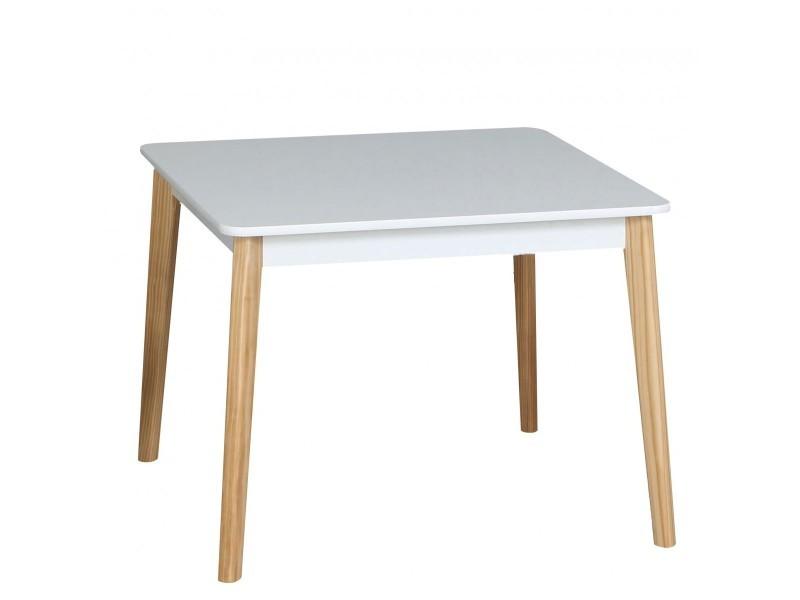 Table enfant carrée bois blanc