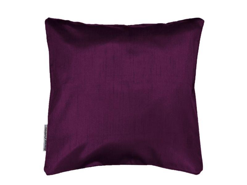 Housse de coussin polyester shantung uni shana prune 40 x 40 cm