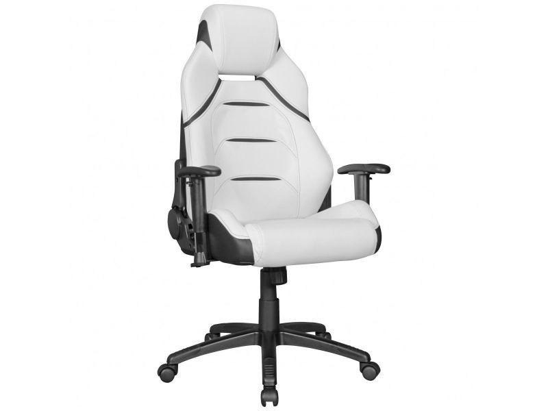 Chaise pivotante de bureau en pvc à 5 roulettes coloris noir et