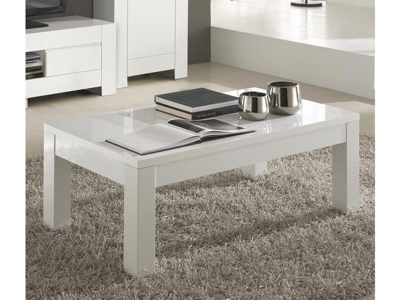 Table Basse Blanc Laque Rectangulaire.Table Basse Rectangulaire Blanc Laque Design Flavie Vente