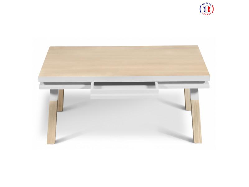 Table Basse Rectangulaire Avec Tiroir L 100 Cm Blanc Balisson 100 Made In France Vente De Mon Petit Meuble Francais Conforama