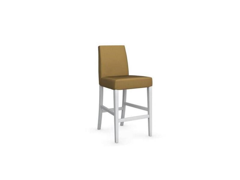 Chaise de bar latina piétement hêtre laqué blanc assise tissu jaune moutarde 20100839332