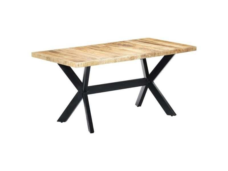 Vidaxl table à dîner 160x80x75 cm bois de manguier massif brut 247433