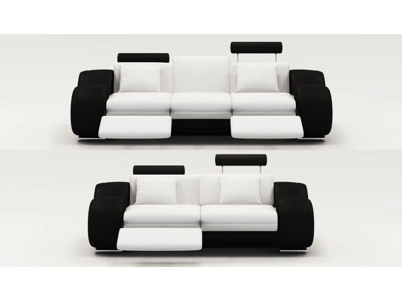 Ensemble cuir relax oslo 3+2 places blanc et noir-