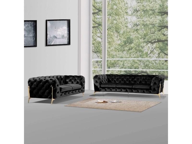 Angela - ensemble canapé 3+2 places chesterfield velours noir angela