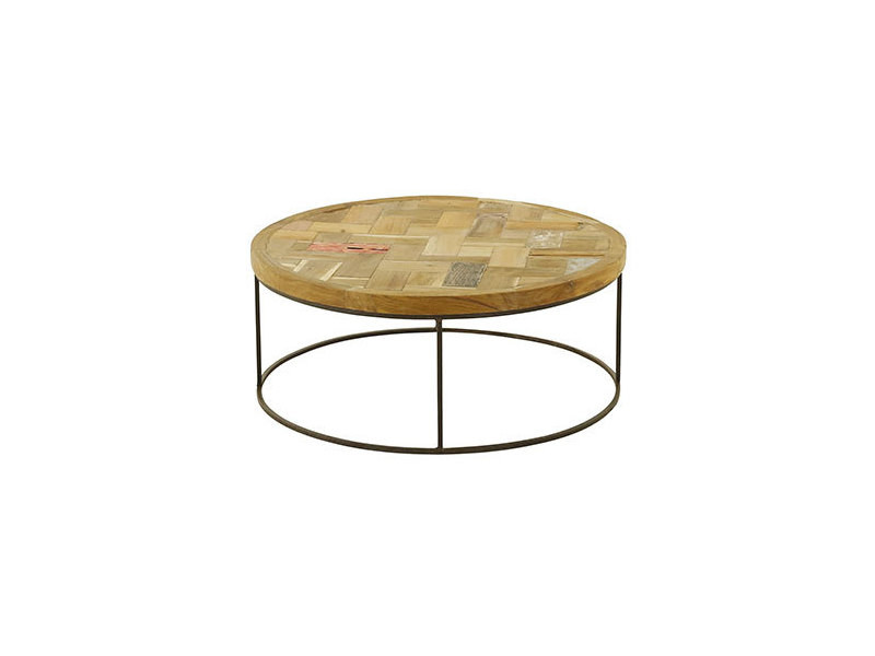 Table Basse Ronde 80 Cm En Bois Massif Recycle Et Metal