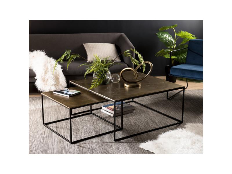 Set de 2 tables gigognes carrées aluminium doré - pieds métal