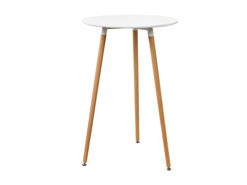 Table de bar comptoir de bar ronde en design rétro mdf 70 cm blanc helloshop26 03_0004186