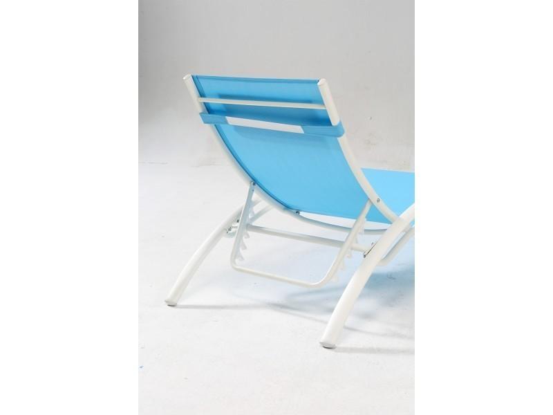 Bahia bleu blanc transat empilable et ajustable en for Transat conforama