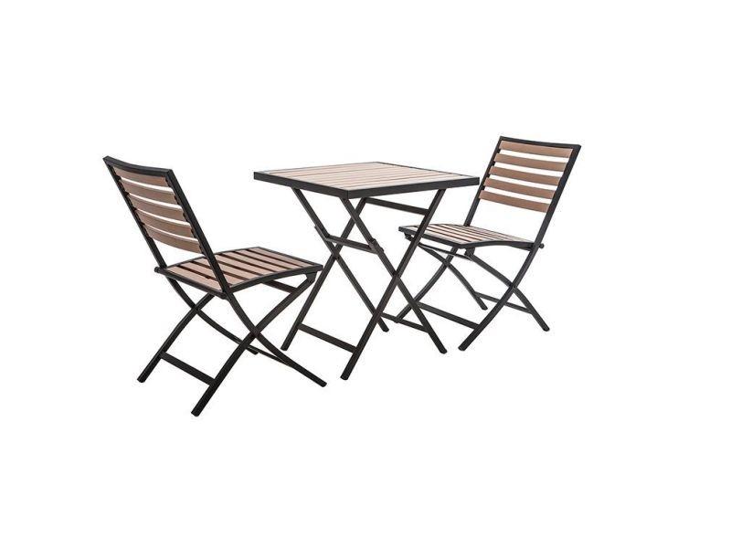 Salon de jardin pliable avec table et 2 chaises noir et bois ...