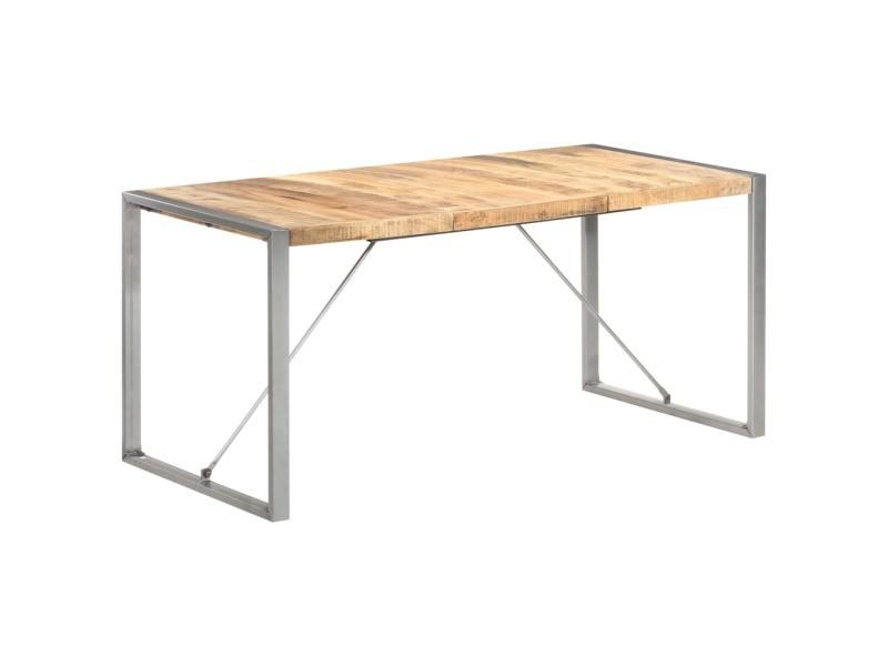 Vidaxl table à dîner 160x80x75 cm bois de manguier massif brut 321563