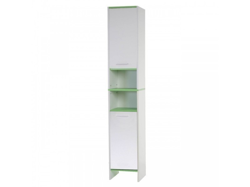 Armoire meuble de salle de bain 179x32x28cm blanc vert sdb04003 vente de me - Meuble salle de bain vert ...