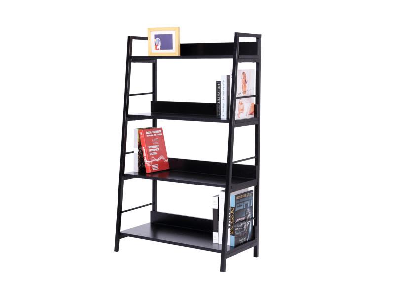 tag re biblioth que design contemporain 4 niveaux 70 x 35 x 117 cm acier bois noir 11 vente. Black Bedroom Furniture Sets. Home Design Ideas