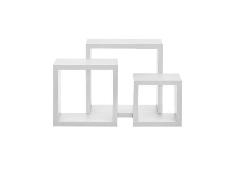 [en.casa] étagère murale en 3 pièces blanc mat design rétro