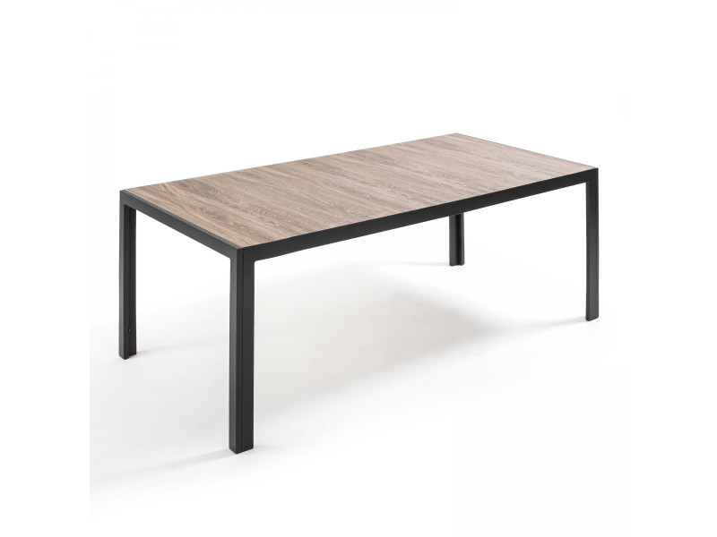 Table de jardin aluminium et céramique 10 places aluminium gris
