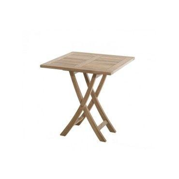 Table de jardin en bois teck carrée pliante - Conforama