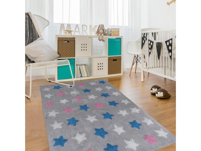 Tapis enfant 60x110 cm rectangulaire etoile multicolore chambre tufté main coton