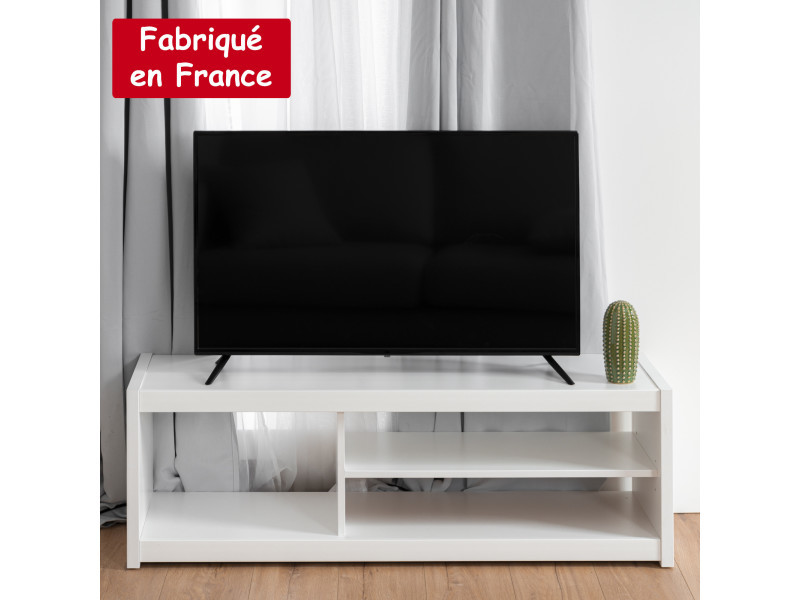 Meuble tv rectangulaire 3 niches blanc