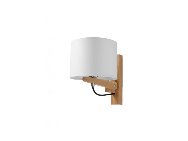 Applique murale legno bois/pvc bois naturel/blanc 1 ampoule