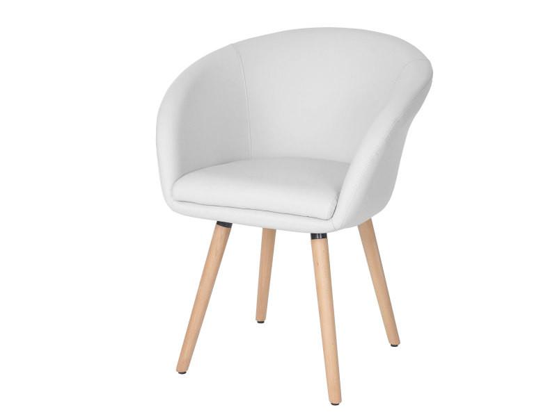 Chaise de salle à manger malmö t633, fauteuil, design rétro des années 50 ~ similicuir, blanc