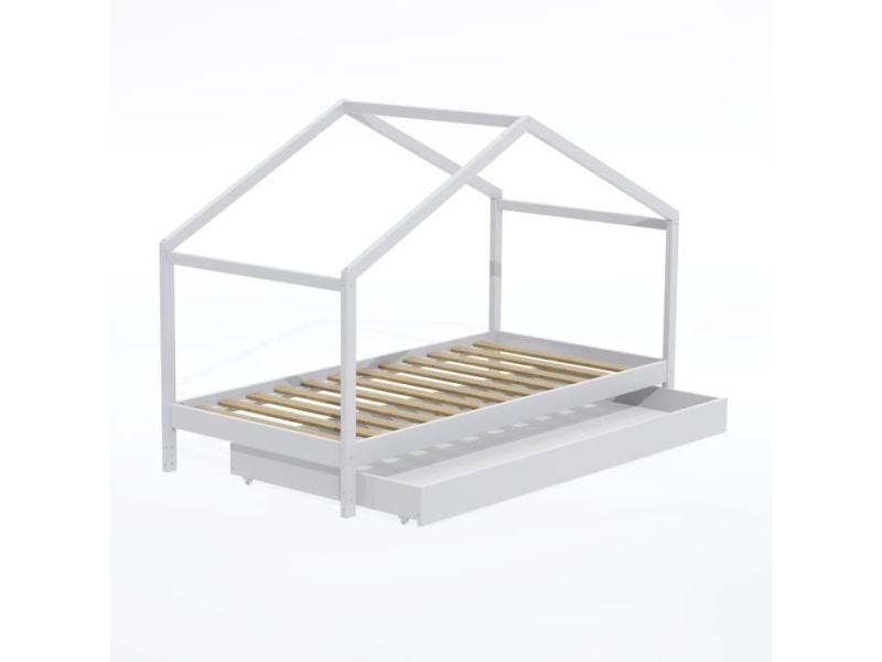Structure de lit koala lit cabane enfant avec tiroir - bois pin massif - blanc - sommier inlcus - 90x190cm
