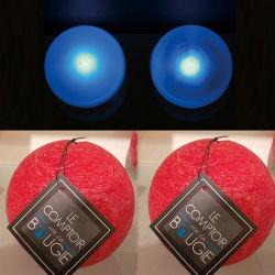 2 lampes perles et bougies boule rouges